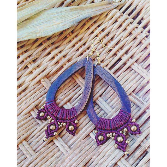 wooden macrame earrings ☼ #macrame #macramejewelry #handmade #coachellastyle #hippiestyle #gipsystyle #macrameearrings