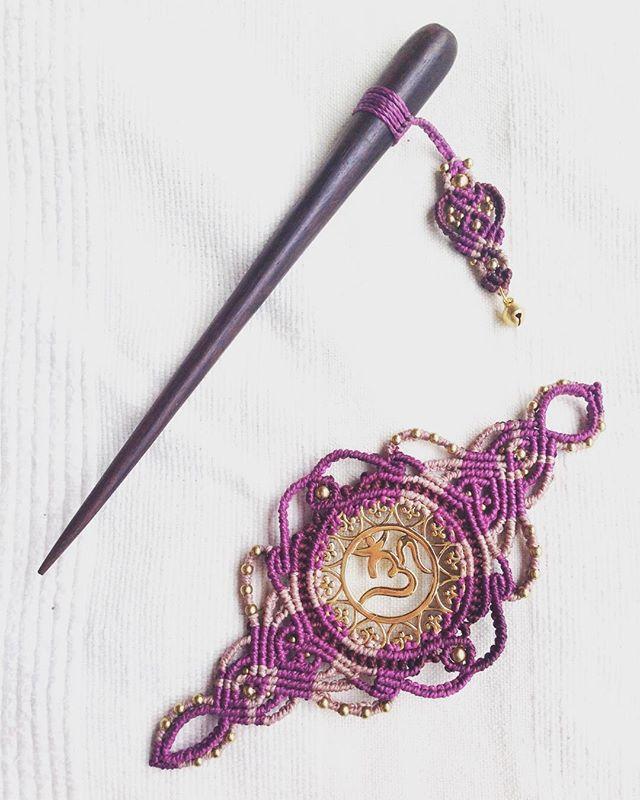 ein bisschen lila gefällig, wie gefällt euch diese Variante? #hairneedle #hairjewelry #macrame #macralove #macrameart #gibsystyle #hippiechic